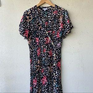 PATRONS OF PEACE Printed Faux Wrap Midi Dress